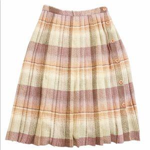 Vintage 70s Pleated Full Button Plaid Midi Skirt
